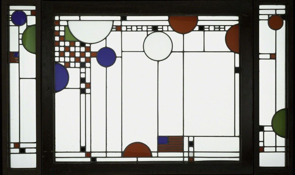 Frank Lloyd Wright Avery Coonley Playhouse: Triptych Window, 1912 Clear and colored lead glass in oak frames 36 × 58 1/2 in 91.4 × 148.6 cm