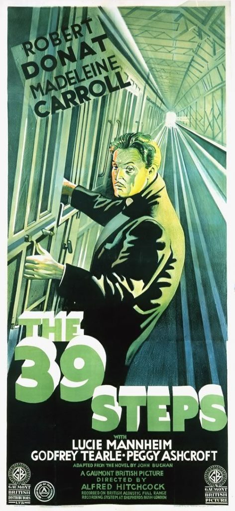 Poster for The 39 Steps (1935) - directed by Alfred Hitchcock and starring Robert Donat and Madeleine Carroll