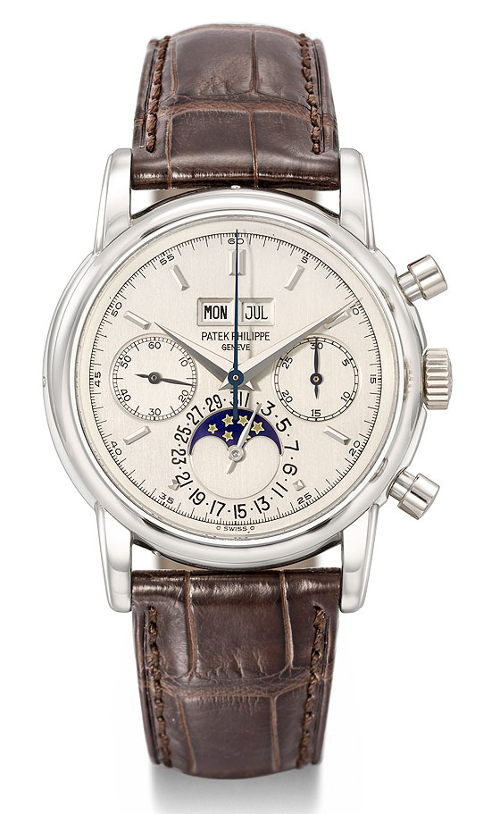 At an auction held on November 20, 2012, in Geneva, Christie's auctioned a very rare Patek Philippe Ref. 2499/100 from the personal collection of legendary guitarist Eric Clapton. The watch, manufactured in 1987 as one of only two platinum versions of this reference ever made, has a perpetual calendar, chronograph and moon-phase. It sold at $3,635,808, a new world record price for this timepiece at auction.