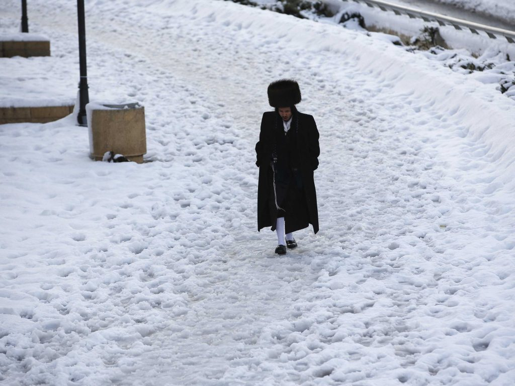 Hasid in Snow Darren Whiteside Israel