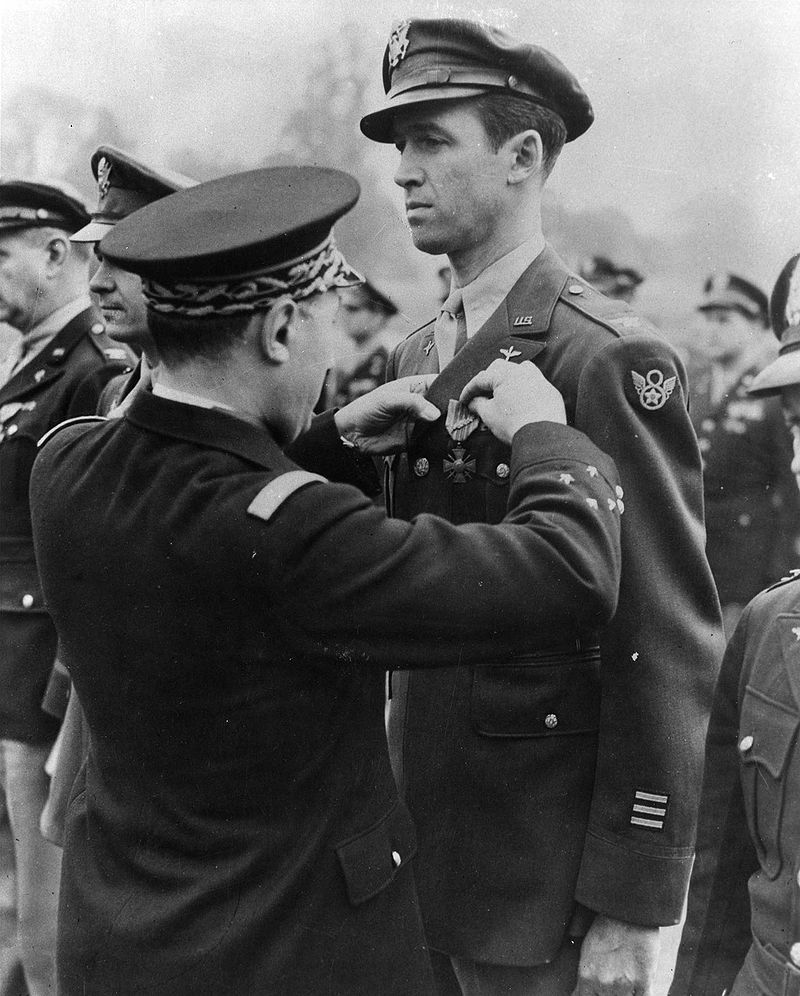 Lt. Col James Stewart received the French Croix de Guerre after flying 20 combat missions, July, 1944. During World War II he was also awarded the Distinguished Service Cross and Distinguished Flying Medal.