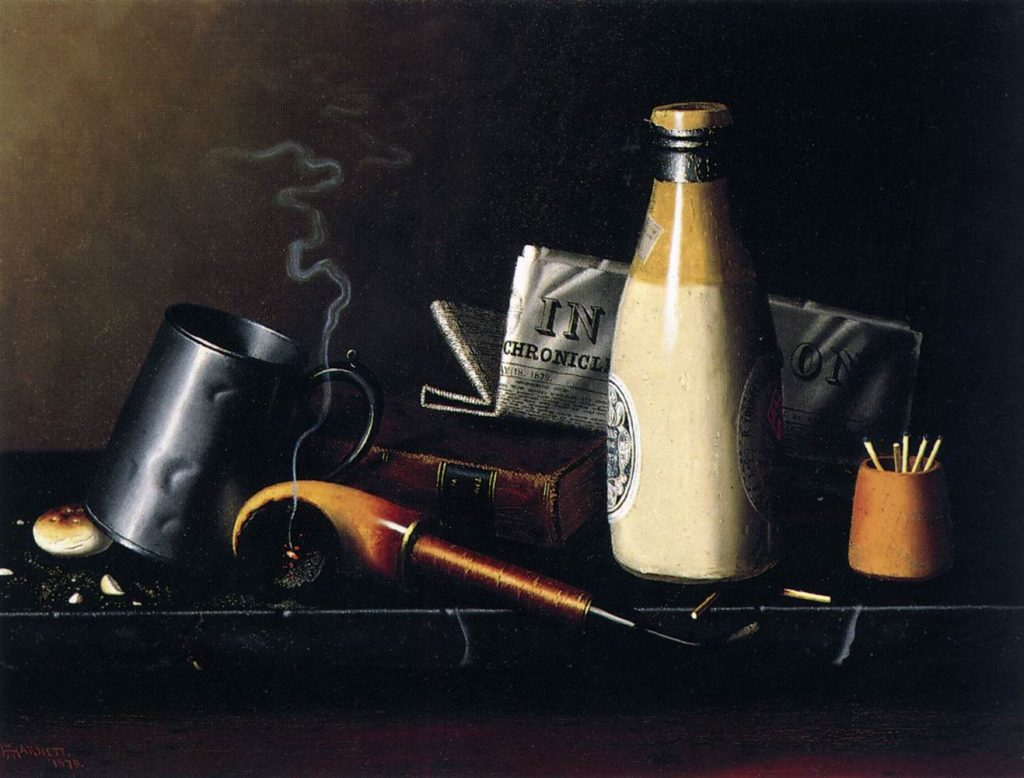 "William Michael Harnett American painter (b. 1848, Clonakilty, d. 1892, New York) ""Materials for a Leisure Hour"" 1879 Oil on canvas, 38 x 52 cm Museo Thyssen-Bornemisza, Madrid"
