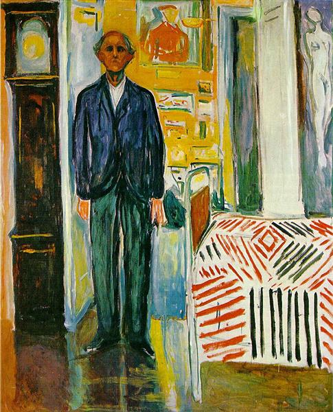 Edvard Munch Self-Portrait. Between The Clock And The Bed 1940-1943 oil on canvas Dimensions: 120.5 x 149.5 cm The Munch Museum