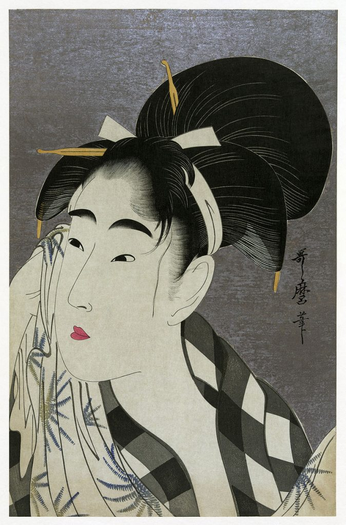 Utamaro, Woman Wiping Sweat, Woodblock print, 1798.