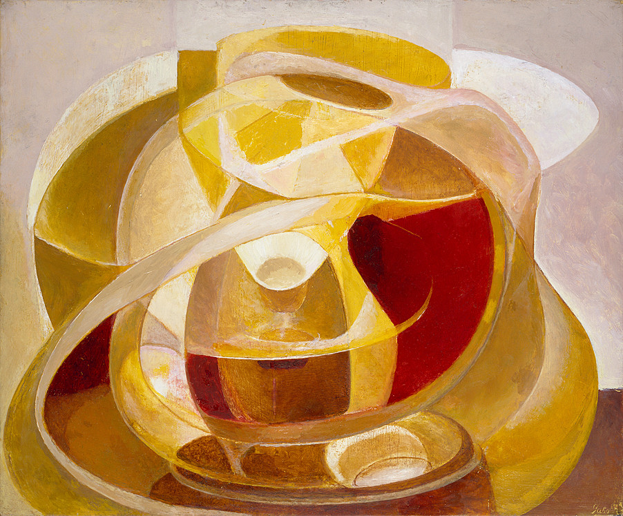 "Naum Gabo ""Construction-in-Depths"" 1944, Oil-on-board-15-x-18-in."