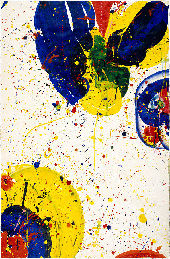 "Sam Francis (American,1923 – 1994) ""Untitled"" 1964 Acrylic on paper, mounted on masonite 40.875 x 27.375 in (103.7 x 69.5 cm) Guggenheim, N.Y."