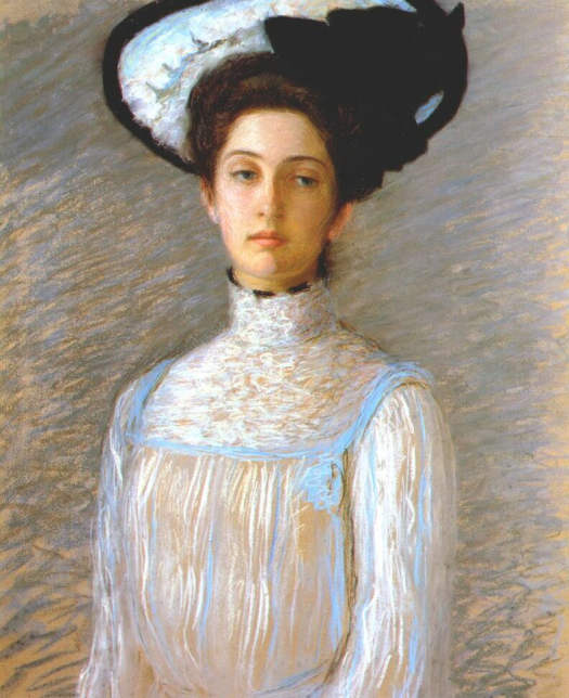 Lilla Cabot Perry (American artist, 1848-1933) Alice in a White Hat