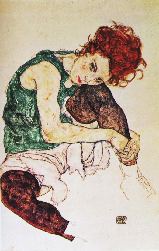 Egon Schiele Seated Woman With Bent Knee, 1917