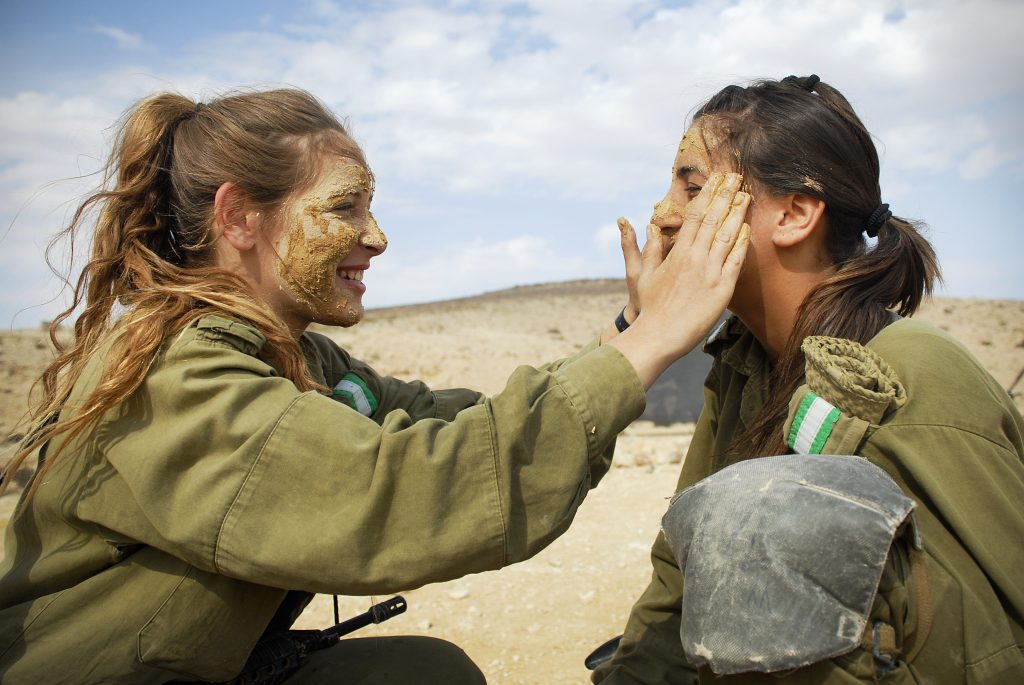 The latest fashion in makeup for female Israeli soldiers.