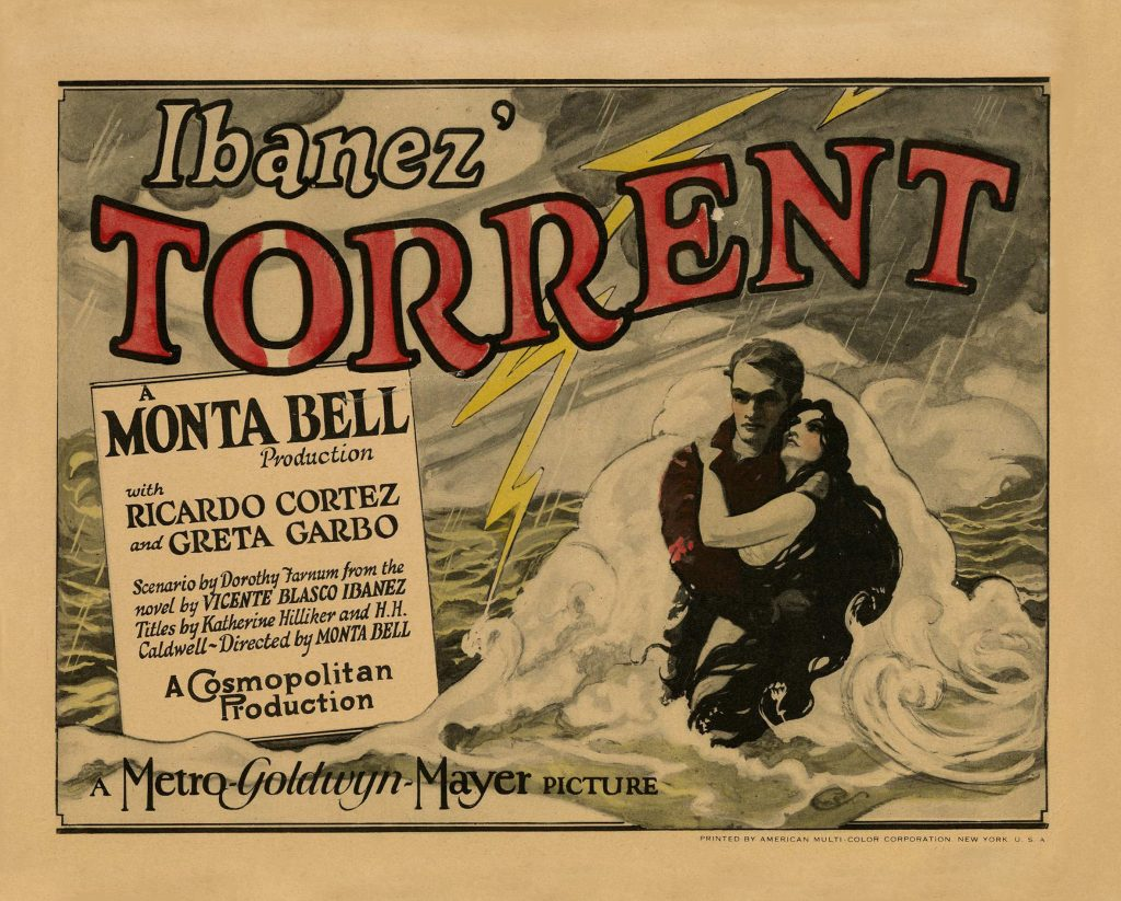 Lobby card for The Torrent (1926) starring Ricardo Cortez and Greta Garbo. The only film where Greta Garbo gets second billing.