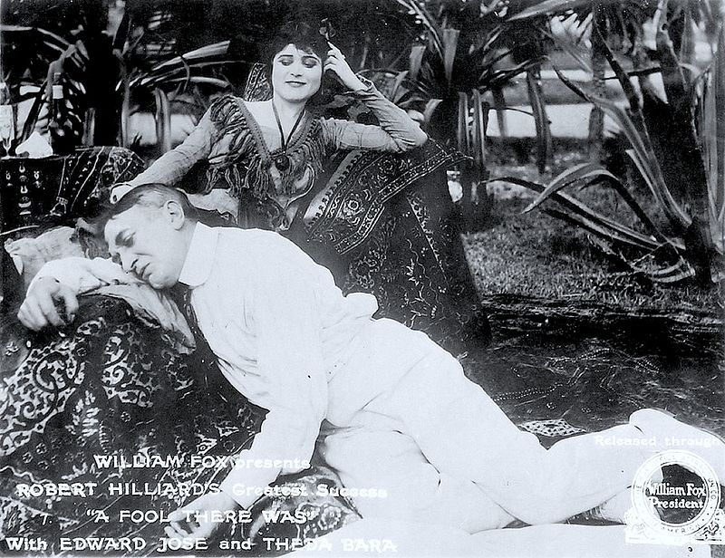 "Still from A Fool There Was, 1915 starring Theda Bara, May Allison, Victor Benoit. The film that made Theda Bara an overnight sensation. And yup, this is the movie where Theda commands: ""Kiss me, you fool!"""