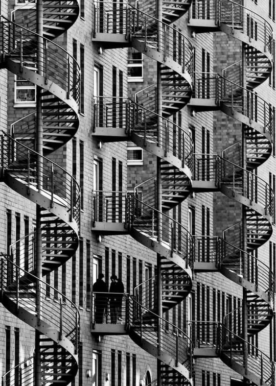 "Margit Lisa Roeder. ""Smoking break (Spiral-staircases)"". Wendeltreppen, Hamburg. 2013"