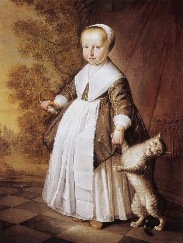 1600s Jacob Gerritsz Cuyp (Dutch artist, 1594–1650) Four-Year-Old Girl with Cat and Fish