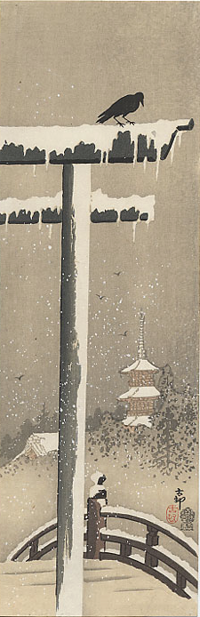 Ohara Koson Torii and Crow in the Snow 1910