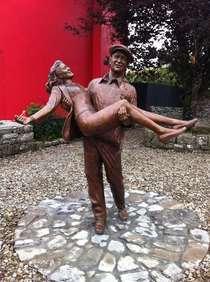 """The Quiet Man"" memorial statue of Maureen O'Hara and John Wayne, village of Cong, Ireland,1953."