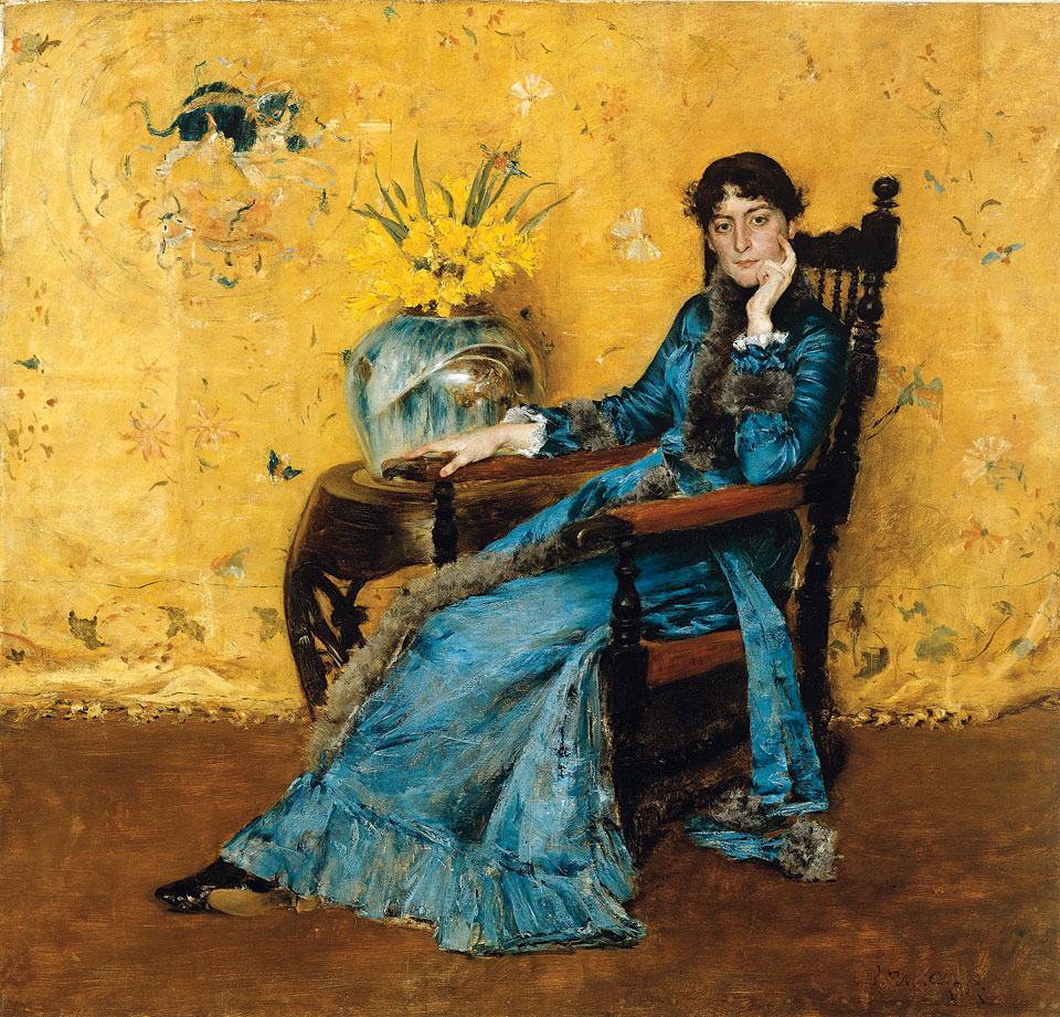 "William Merritt Chase Portrait of Miss Dora Wheeler, ca, 1883. Signed ""W. M. Chase"" at upper right. Oil on canvas, 62-1/2 x 65-1/2 inches. Cleveland Museum of Art, Gift of Mrs. Boudinot Keith in Memory of Mr. and Mrs. J. H. Wade, November 17, 1921."