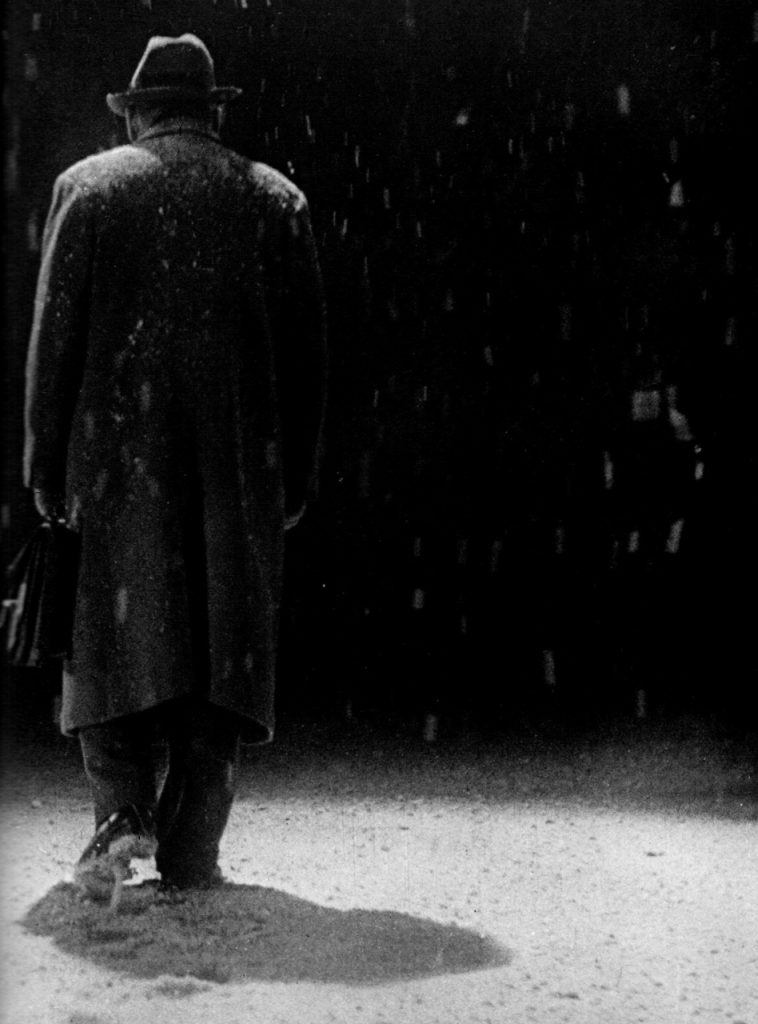"""Takashi Shimura as Watanabe, the bureaucrat doomed to die from cancer, in Ikiru (1952, dir. Akira Kurosawa) """"Occasionally I think of my death … then I think, how could I ever bear to take a final breath; while living a life like this, how could I leave it? There is, I feel, so much more for me to do — I keep feeling I have lived so little yet. Then I become thoughtful, but not sad. It was from such a feeling that Ikiru arose."""" -Kurosawa, quoted in Akira Kurosawa: Interviews"""