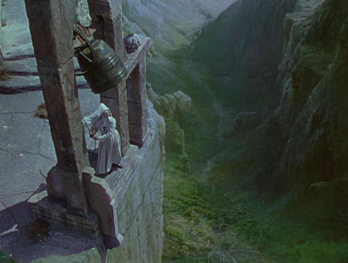 Above, the bell ringing scene in Black Narcissus (1947) as shot on the studio lot; below, the final scene with the addition of Walter Percer Day's glass matte painting of the Himalayas. (via)