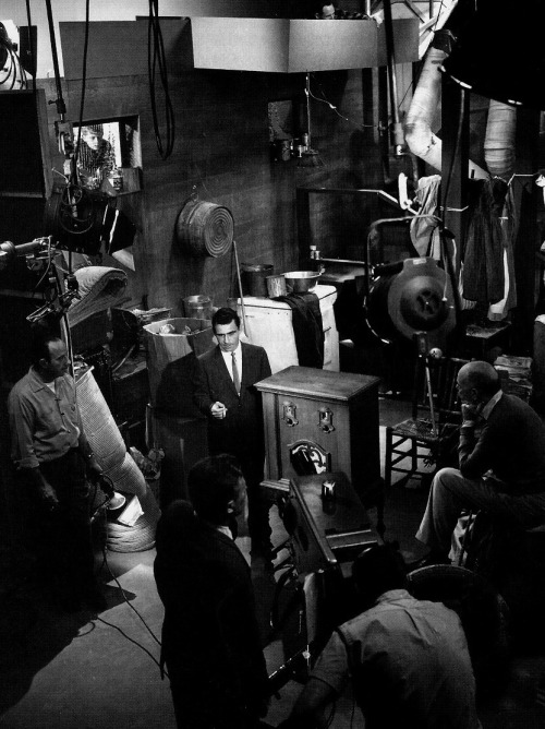 "The Twilight Zone's crew looks on as Rod Serling performs his on-camera narration for the episode Static, 1961. ""As I grow older, the urge to write gets less and less. I've pretty much spewed out everything I have to say, none of which has been particularly monumental. I've written articulate stuff, reasonably bright stuff over the years, but nothing that will stand the test of time. The good writing, like wine, has to age well with the years, and my stuff is momentarily adequate."" -Rod Serling, 1972"