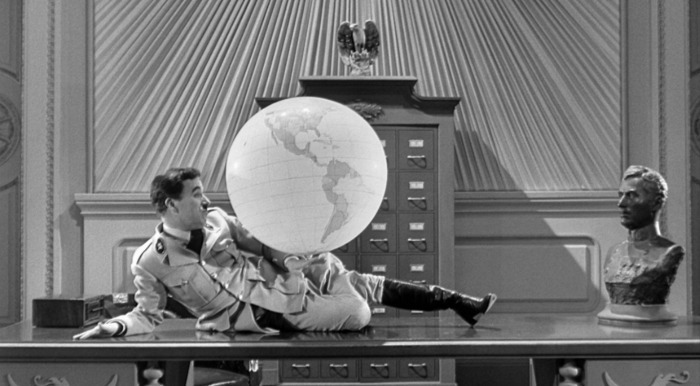 "Charlie Chaplin in The Great Dictator (1940) ""Had I known of the actual horrors of Nazi concentration camps, I could not have made The Great Dictator. I wanted to ridicule their mystic bilge about a pure-blooded race. The English office at United Artists were against my making an anti-Hitler film - until the war had started."" -Chaplin, quoted in My Life in Pictures (1974)"