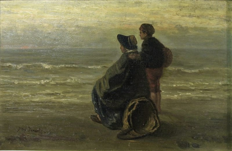 Jozef Israels (Dutch painter 1824-1911) Mother and Child by the Sea