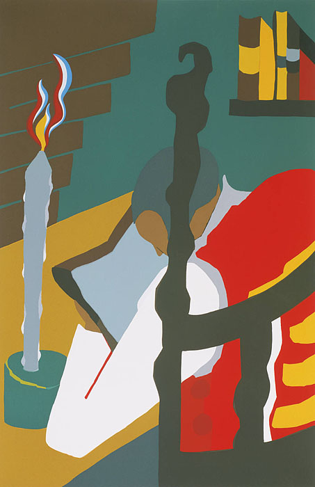 Jacob Lawrence(1917-2000) Toussaint L'Ouverture series: Contemplation, 1993 Silkscreen on two ply rag paper 32 1/8 x 22 1/8 inches The Phillips Collection, Washington, D.C. Gift of Jacob Lawrence, 1993