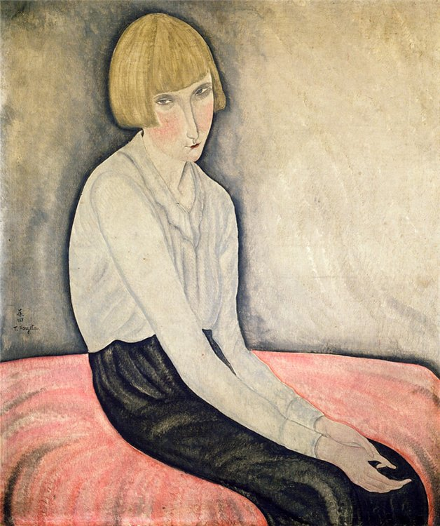 Tsuguharu Fujita Young Woman on a Pink Couch c. 1918 oil on canvas 65-x-54-cm-Private Collection