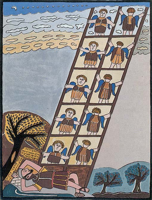 "Shalom of Safed (Shalom Moskovitz, 1885-1980) Jacob's Ladder II Collection Robert & Karen Avrech ""There once lived a pious old man in Safed. His great grandparents had come from Eastern Europe to Eretz Yisroel sometime in the eighteenth century. He remembered back when the Turks ruled Palestine and then the English came and tried to govern this difficult land. In those years Safed was a mix of Arab and Jew, Sephardi and Ashkenazi. Shalom Moskovitz was a watchmaker by trade but also worked as a scribe, a silversmith and even a stonemason. He did whatever it took to put food on his humble table and feed his family. Then it happened that his workshop was destroyed in the riots during the War for Independence in 1948. All the tools of his trade were lost. What might he do? He turned from the life of a practical craftsman to the life of an artist, first making folk-art toys and then simple paintings. He became, when he was just entering his seventies, perhaps one of the most original Israeli artists of the twentieth century. He was Shalom of Safed."" More here."
