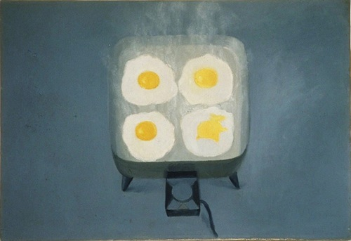 "Vija Celmins. ""Eggs,"" 1964. Oil on canvas. 24 1/4 x 35 1/4 in. Museum of Contemporary Art San Diego. Museum purchase with funds from George Wick and Ansley I. Graham Trust, Los Angeles in memory of Hope Wick. © Vija Celmins."