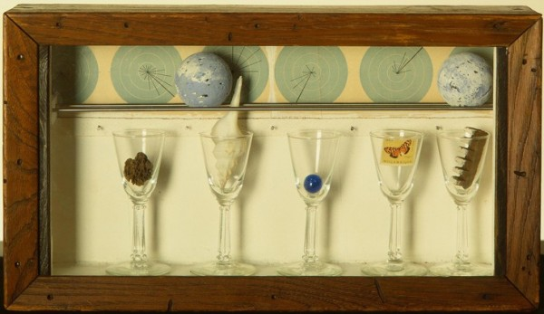 Joseph Cornell (American, 1903–1972) Celestial Navigation by Birds, ca. 1958 Mixed media box construction 8 1/2 x 15 1/2 x 3 1/2 in. (21.59 x 39.37 x 8.89 cm) Purchase, Virginia Booth Vogel Acquisition Fund M1989.76 Photo credit P. Richard Eells © The Joseph and Robert Cornell Memorial Foundation / Visual Artists and Galleries Association, Inc. (VAGA)