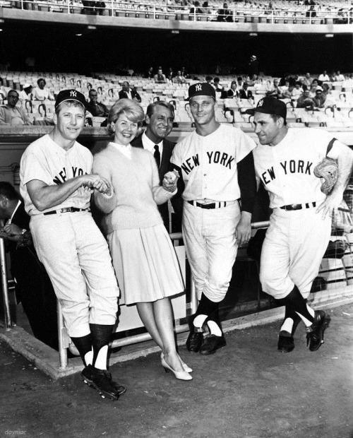 Doris Day with Cary and Mickey Mantle, Roger Maris and Yogi Berra. This picture was probably taken when Doris and Cary were making That Touch of Mink, 1962.