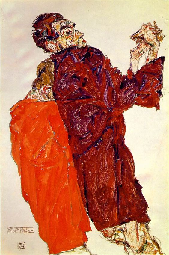 Egon Schiele The Truth Unveiled, 1913 gouache