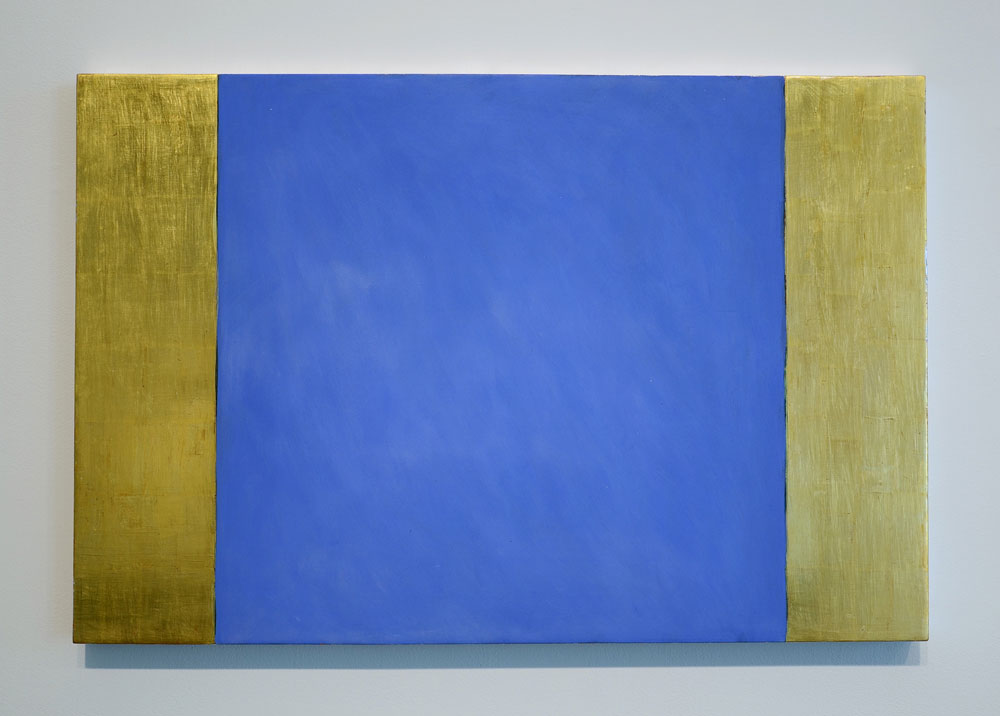 Mary Obering Center Blue, 1990 Egg tempera and gold leaf on gessoed panel, 24-x-36 inches.