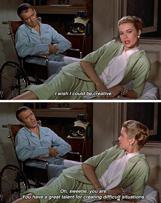 "James Stewart and Grace Kelly, Rear Window, 1954 Screenplay by John Michael Hayes Based on""It Had to Be Murder"" (short story) by Cornell Woolrich"