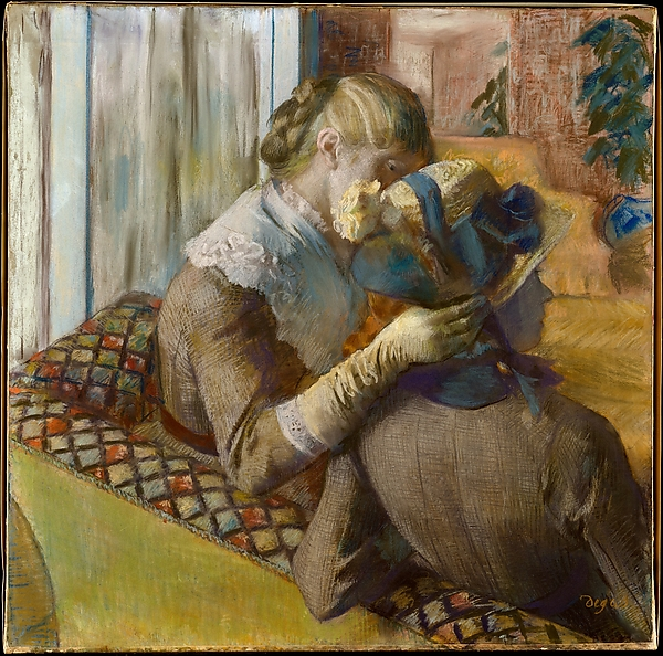 At the Milliners Edgar Degas( 1834-1917) 1881, pastel on five pieces of woven paper backed with paper and laid down on canvas The Metropolitan Museum-of Art