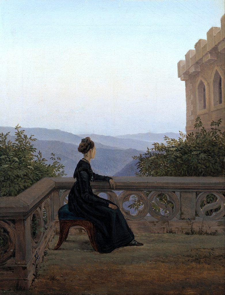 Carl Gustav Carus (1789–1869) Details of artist on Google Woman on the Balcony 1824 oil on canvas 16.5 × 12.6 in