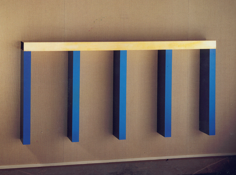 Donald Judd (American, 1928–1994), Untitled , 1982 brass and blue anodized aluminum, 40 ½ x 84 x 6 ¾ in.; 102.87 x 213.36 x 17.15 cm
