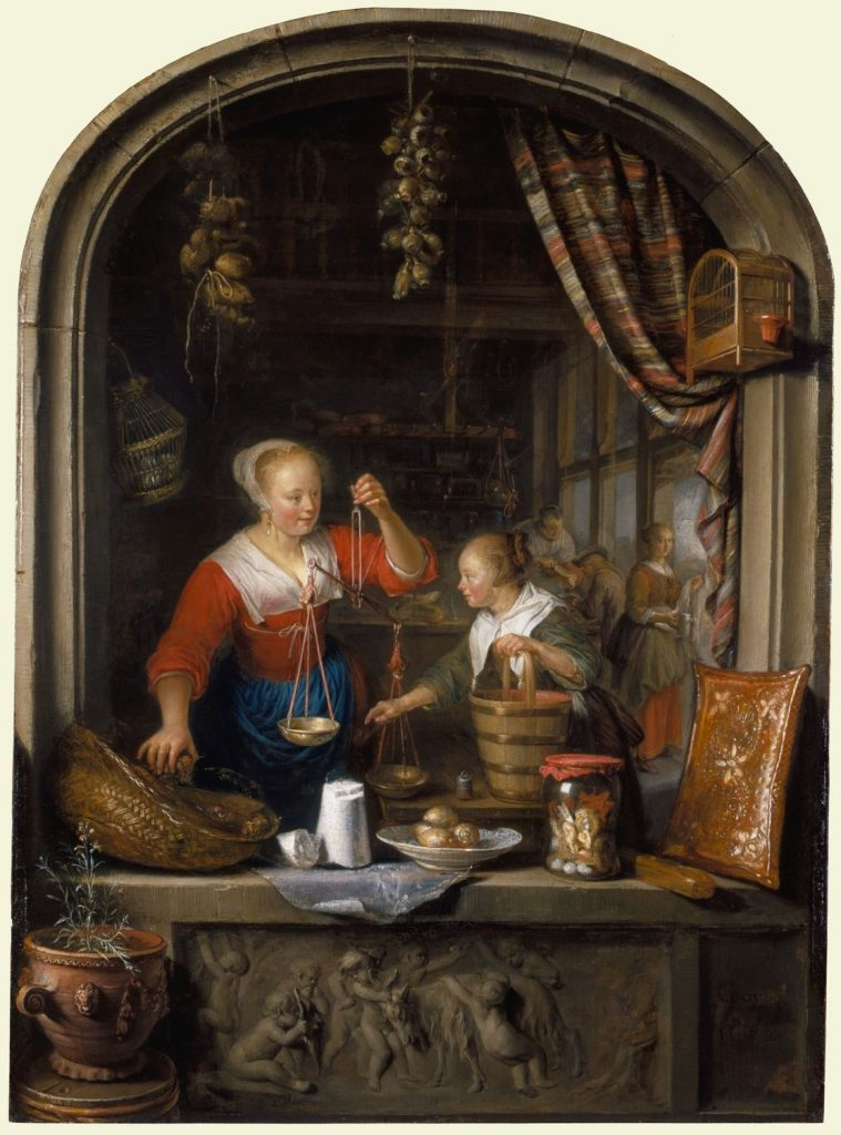 Gerrit Dous The Grocers' Shop a Woman Selling Grapes, 1672