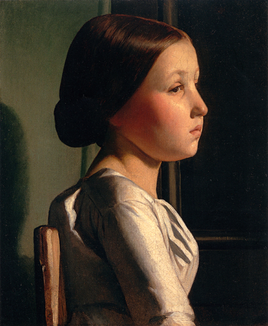 Paul-Jean Flandrin (French, 1811-1902) Profile of a seated Girl Oil on canvas 18 x 15 inches (46 x 38 cm)