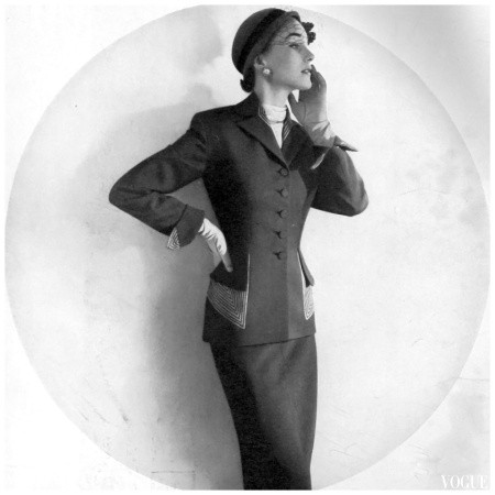 Horst B. Horst Sherry Nelms in Lilli Ann's gabardine suit, hat by Lilly Dachevogue, 1951