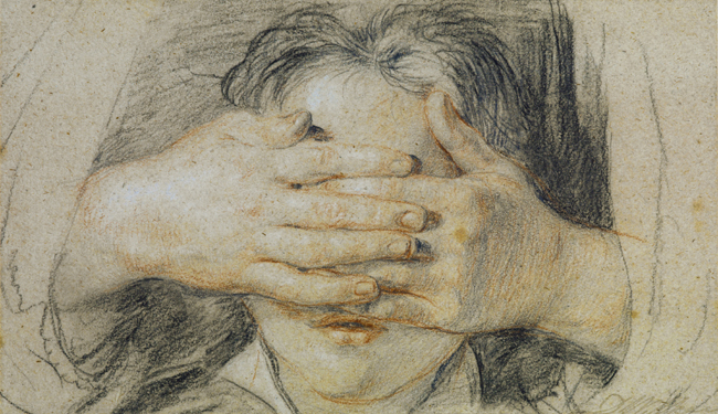 Sir David Wilkie (Scottish, 1785-1841) Guess my Name 1821 Black and red crayon with graphite, heightened with white chalk on laid paper 4 x 7 inches (103 x 180 mm)