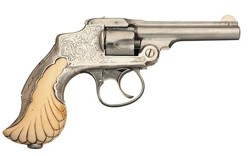 Tiffany and Co. Smith & Wesson First Model 32 Safety Hammerless DA Revolver with Factory Letter and Embellished Sterling Silver Tiffany Ivory Encased Grip. Manufactured in 1888.