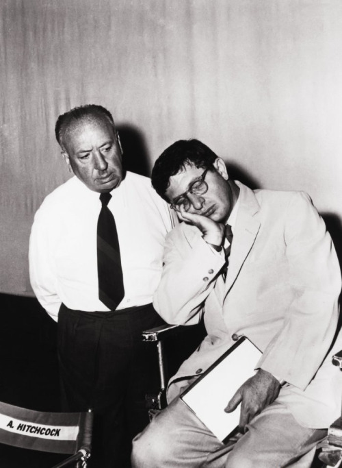 "Alfred Hitchcock & Bernard Herrmann on the set of Psycho (1960) ""The Hitchcocks often played host to the Herrmanns, especially in the late 1950s. Recalled the third Mrs. Herrmann, Norma Shepard, ""Benny used to wash dishes with Hitch, and they'd talk about what they'd do if they weren't in the film business. Benny wanted to run an English pub, until somebody told him you actually had to open and close at certain hours. Benny asked Hitch what he would be. There was a silence. Hitchcock then turned to Benny, his apron folded on his head, and said solemnly: 'A hanging judge'"". -excerpted from A Heart at Fire's Center: The Life and Music of Bernard Herrmann"