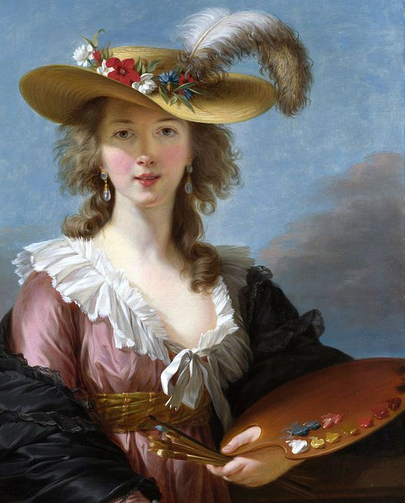 """Self Portrait by Elisabeth-Louise Vigée Lebrun, 1782, France The colors on Lebrun's palette are taken from her dress and hat. """"Born in Paris on 16 April 1755, Marie-Louise-Élisabeth Vigée was the daughter of a portraitist and fan painter, Louis Vigée, from whom she received her first instruction. Her mother was a hairdresser. She was sent to live with relatives in Épernon until the age of 6 when she entered a convent where she remained for five years. Her father died when she was 12 years old following an infection from surgery to remove a fish bone lodged in his throat. In 1768, her mother married a wealthy jeweler, Jacques-Francois Le Sèvre and the family moved to the rue Saint-Honoré close to the Palais Royal. She was later patronised by the wealthy heiress Louise Marie Adélaïde de Bourbon, wife of Philippe Égalité. During this period Louise Élisabeth benefited from the advice of Gabriel François Doyen, Jean-Baptiste Greuze, Joseph Vernet, and other masters of the period. """"By the time she was in her early teens, Louise Élisabeth was painting portraits professionally. After her studio was seized, for her practising without a license, she applied to the Académie de Saint Luc, which unwittingly exhibited her works in their Salon. On 25 October 1783, she was made a member of the Académie. """"After the arrest of the royal family during the French Revolution, Vigée Le Brun fled France with her young daughter Julie. She lived and worked for some years in Italy, Austria, and Russia, where her experience in dealing with an aristocratic clientele was still useful. In Rome, her paintings met with great critical acclaim and she was elected to the Roman Accademia di San Luca."""" —Wikipedia"""