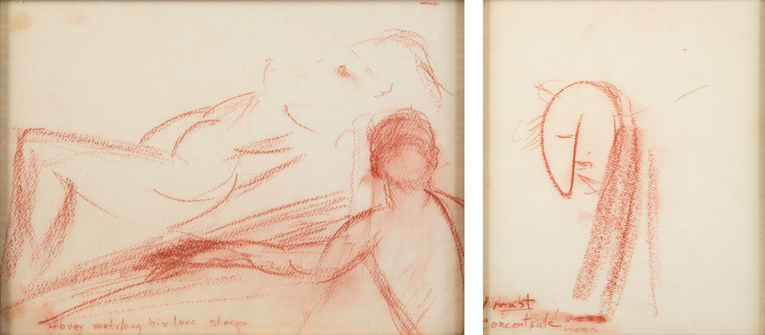 Sketches by Marilyn Monroe left, Lover Watching His Love Sleep, c. 1960 Right: Marilyn Monroe, I Must Concentrate, c. 1960. Images courtesy of Julien's Auctions.