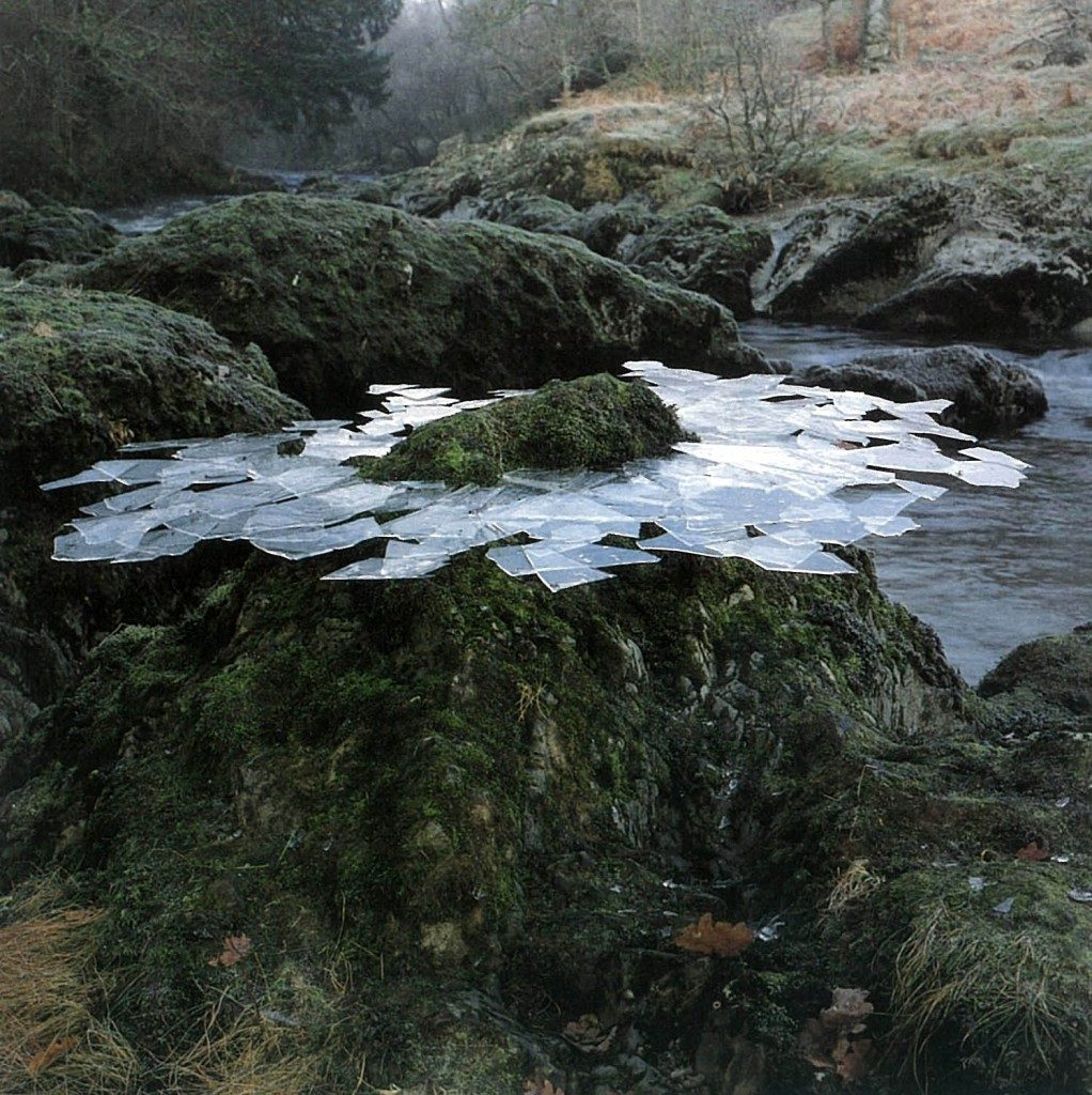 Andy Galsworthy Earth Art Thin ice formed overnight lifted from river pools frozen around a rock. Dumfriesshire, Scotland, December, 1991