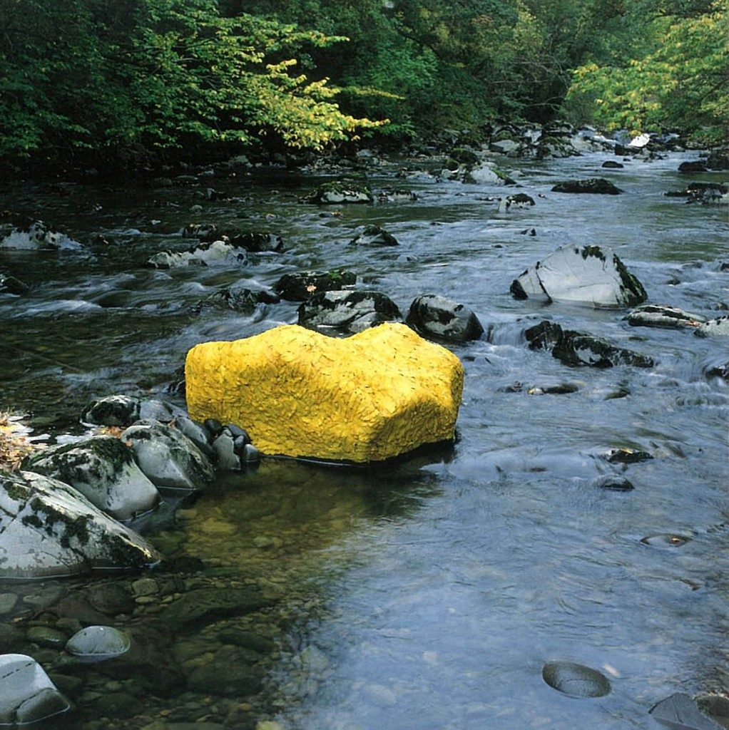 Andy Galsworthy Earth Art Yellow Maple Leaves Laid Over a River Rock, 1991