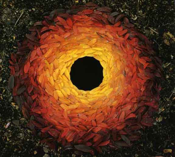 Andy Galsworthy Earth art Oak leaves and hole