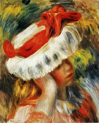 Pierre Auguste Renoir (French painter, 1841-1919) Girl with a Hat