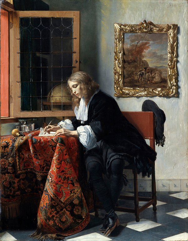 Gabriel Metsu A Gentleman Writing a Letter c. 1662 - 1665 Oil on panel, 52 x 40.5 cm. National Gallery of Ireland